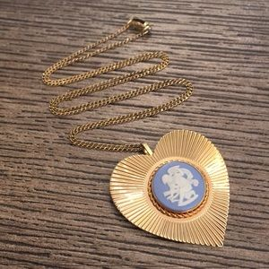 Wedgwood Blue Jasperware Necklace Goldfilled Chain